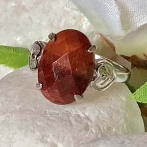 Jewelry - 🎈🎀RED TIGER'S EYE SILVER RING🛍